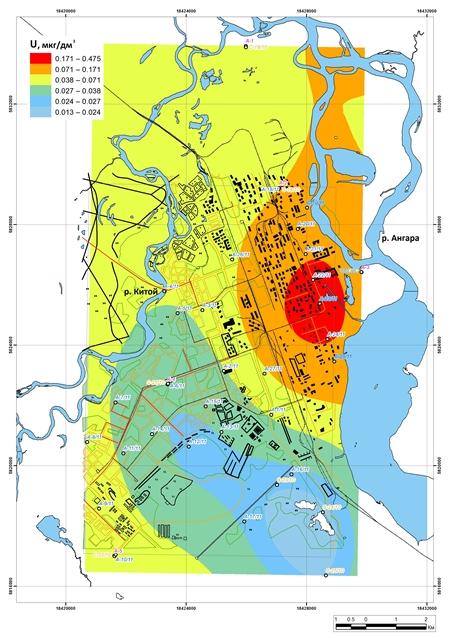 Карта-схема распределение U в