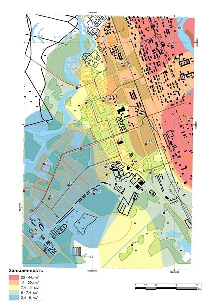 Карта-схема запыленности